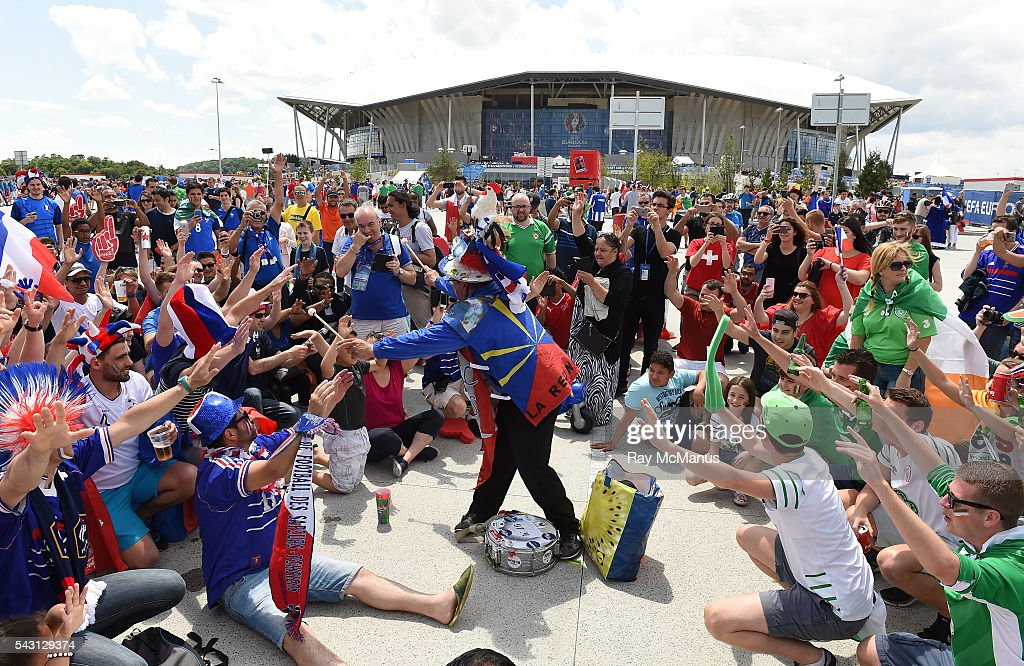 Lyon , France - 26 June 2016; Supporters from both sides ahead of the UEFA Euro 2016 Round of 16 match between France and Republic of Ireland at Stade des Lumieres in Lyon, France.