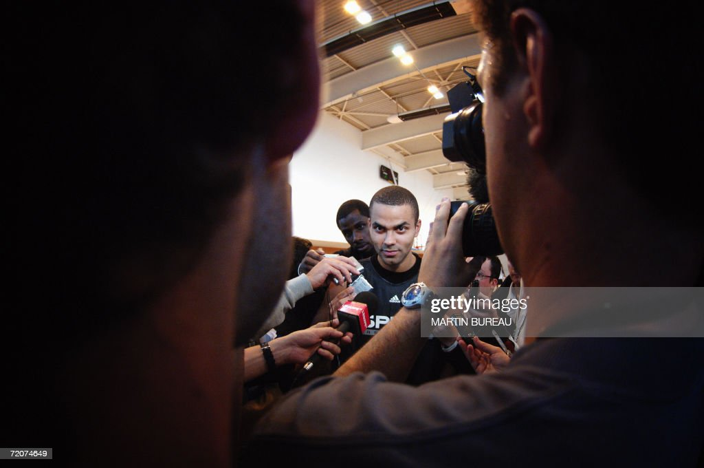 French NBA star Tony Parker answers journalists after a training session, 03 October 2006 at the Vivier Merle Hall in Lyon, central eastern France, two days before the first basket ball match of the season for his team, the San Antonio Spurs, 05 october against ASVEL Villeurbanne.