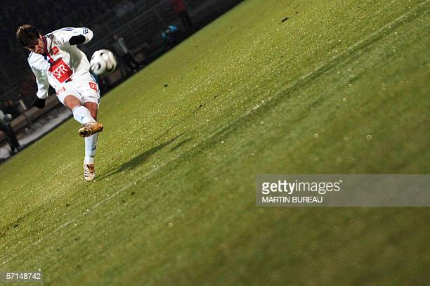 Lyon's Brazilian midfielder Juninho kicks the ball 21 March 2006 at Gerland Stadium in Lyon during the French Cup football match between Lyon and...