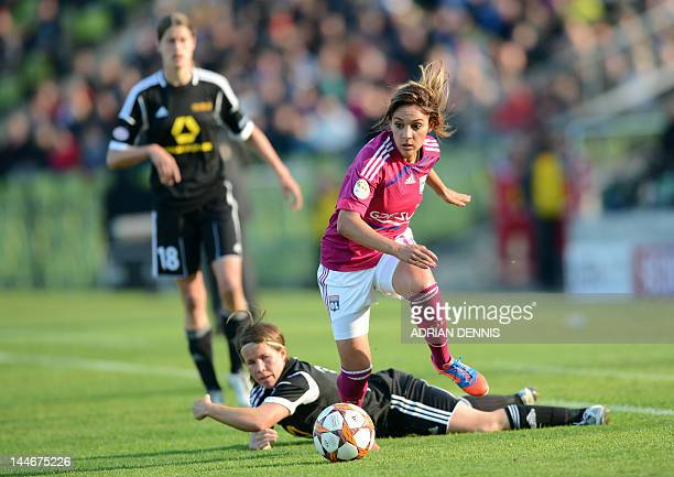 Lyon midfielder Louisa Necib and Frankfurt's defender Meike Weber vie for the ball during the UEFA Women's Champions League final football match of...