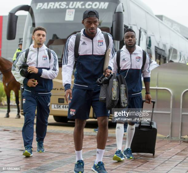 Lyon players arrive Amine Gouiri Myziane Maolida and Maxwell Cornet arrive for the preseason match at Celtic Park Glasgow