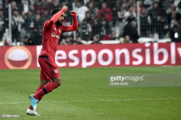 Lyon's Alexandre Lacazette celebrates with his teammates after scoring during the UEFA Europa League second leg quarter final football match between...