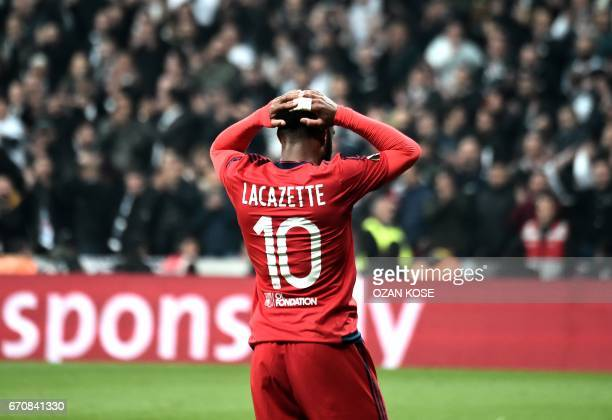 Lyon's Alexandre Lacazette reacts during the UEFA Europa League second leg quarter final football match between Besiktas and Lyon on April 20 at the...