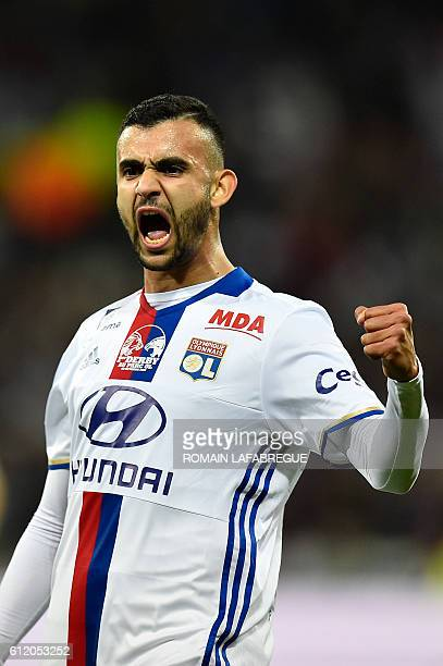 Lyon's Algerian forward Rachid Ghezzal celebrates after scoring a goal during the French L1 football match between Lyon and AS SaintEtienne at the...