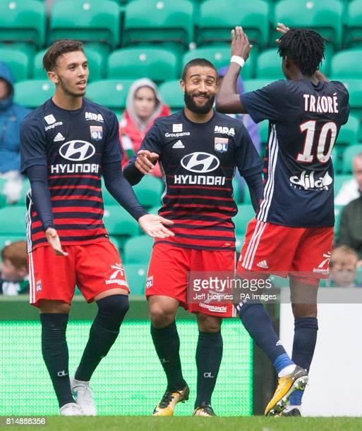 Lyon's Amine Gouiri celebrates his first goal during the preseason match at Celtic Park Glasgow