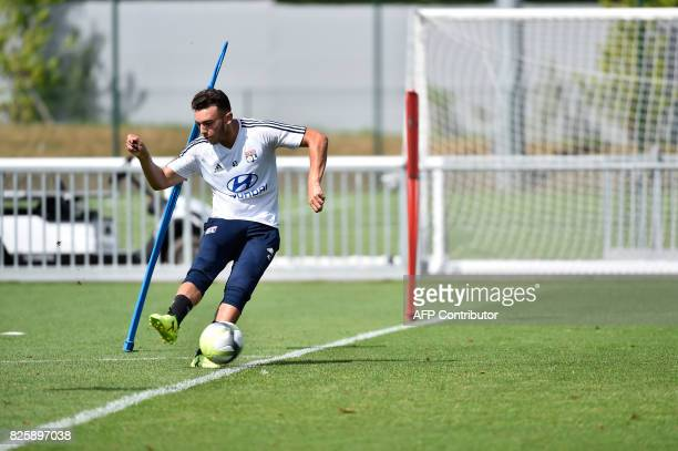 Lyon's Amine Gouiri takes part in a training session on August 3 2017 at the Parc Olympique Lyonnais in Lyon eastern France ahead of Lyon's French...