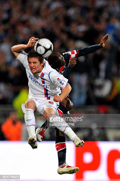 Lyon's Anthony Mounier and PSG's Claude Makelele during the French First league soccer match Olympique Lyonnais vs Paris Saint Germain at the Gerland...