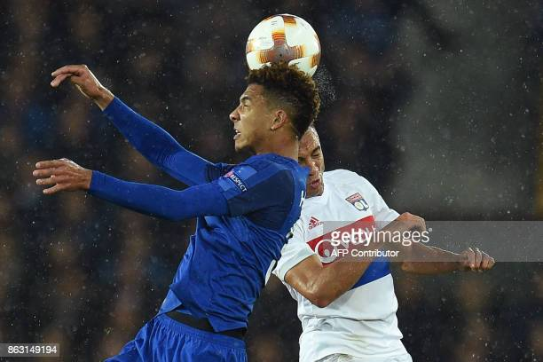 Lyon's Brazilian defender Fernando Marcal vies with Everton's English defender Mason Holgate during the UEFA Europa League Group E match between...