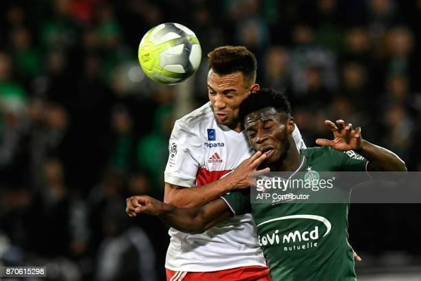 Lyon's Brazilian defender Fernando Marcal vies with SaintEtienne's French forward Jonathan Bamba during the L1 football match AS SaintEtienne vs...