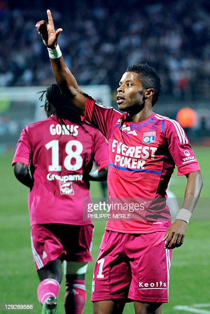 Lyon's Brazilian middfielder Michel Bastos celebrates after scoring a goal during the French L1 football match Lyon vs Nancy on October 15 2011 at...