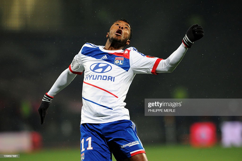Lyon's Brazilian midfielder Michel Fernandes Bastos tries to head the ball during the French L1 football match between Lyon and Evian on January 18, 2013, at the Gerland stadium in Lyon.