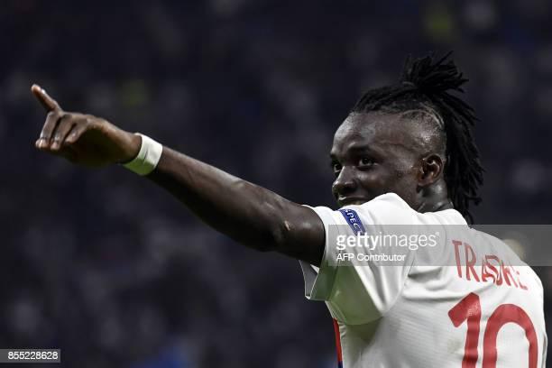 Lyon's Burkinabe forward Bertrand Traore celebrates after scoring a goal during the Europa League football match between Olympique Lyonnais and...