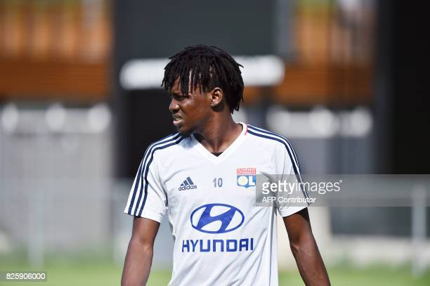 Lyon's Burkinabe forward Bertrand Traore takes spart in a training session on August 3 2017 at the Parc Olympique Lyonnais in Lyon eastern France /...