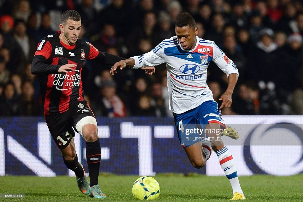 Lyon's Cameroonian midfielder Clinton Mua N'Jie (R) vies with Nice's French midfielder Valentin Eysseric during the French L1 football match Lyon vs Nice, on December 22, 2012 at the Gerland stadium in Lyon, central eastern France.