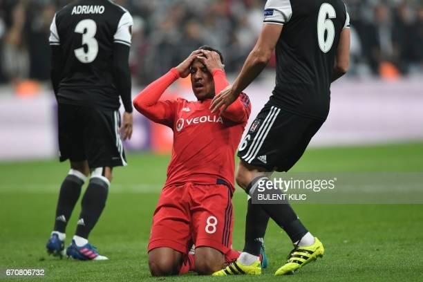 Lyon's Corentin Tolisso reacts during the UEFA Europa League second leg quarter final football match between Besiktas and Lyon on April 20 near the...