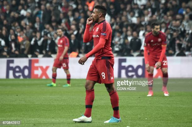 Lyon's Corentin Tolisso reacts during the UEFA Europa League second leg quarter final football match between Besiktas and Lyon on April 20 at the...