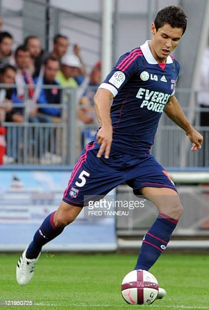 Lyon's Croatian defender Dejan Lovren controls the ball during the French L1 football match Brest vs Lyon on August 20 2011 in Brest western France...