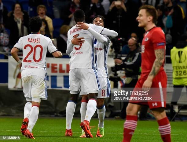 Lyon's defender Mouctar Diakhaby celebrates scoring during the UEFA Europa League football match between Olympique Lyonnais and AZ Alkmaar on...
