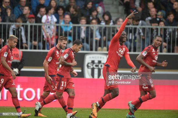 Lyon's defender Mouctar Diakhaby reacts after scoring a goal during the French L1 football match between Angers and Lyon on October 1 2017 at the...
