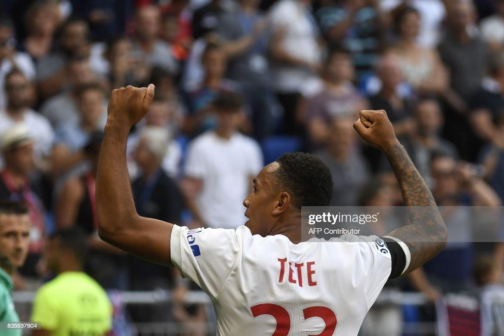Lyon's Dutch defender Kenny Tete celebrates after scoring a goal during the L1 football match Olympique Lyonnais (OL) vs FC Girondins de Bordeaux (FCGB), on August 19, 2017 at the Groupama stadium in Décines-Charpieu near Lyon, southeastern France. /