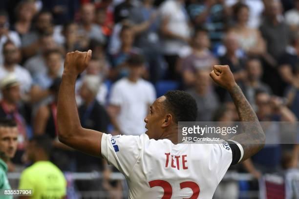 Lyon's Dutch defender Kenny Tete celebrates after scoring a goal during the L1 football match Olympique Lyonnais vs FC Girondins de Bordeaux on...