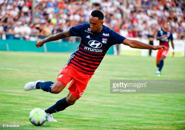 Lyon's Dutch defender Kenny Tete controls the ball during a friendly football match between Olympique Lyonnais and Ajax Amsterdam on July 18 2017 at...
