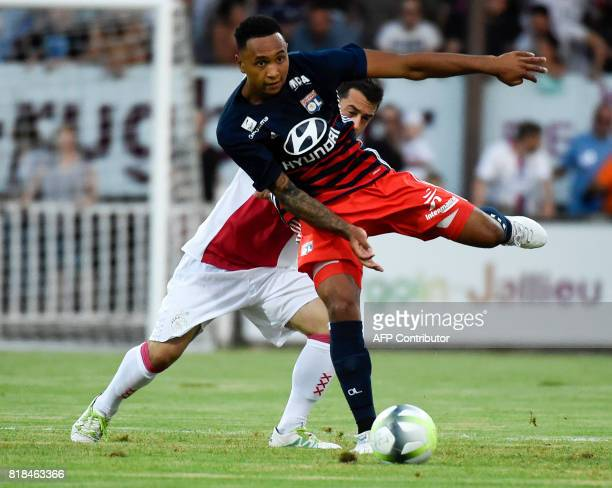 Lyon's Dutch defender Kenny Tete kicks the ball during a friendly football match between Olympique Lyonnais and Ajax Amsterdam on July 18 2017 at the...
