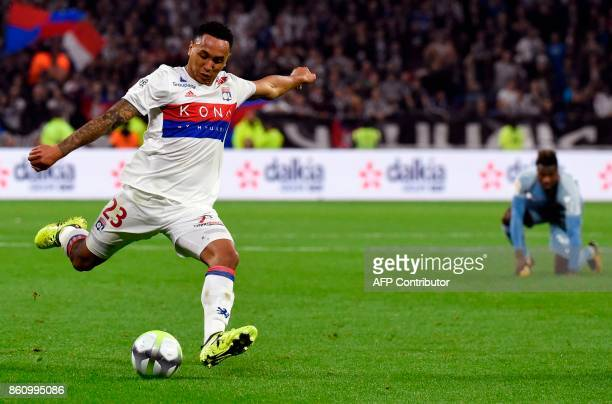 Lyon's Dutch defender Kenny Tete kicks the ball during the French L1 football match Lyon vs Monaco on October 13 2017 at the Groupama stadium in...