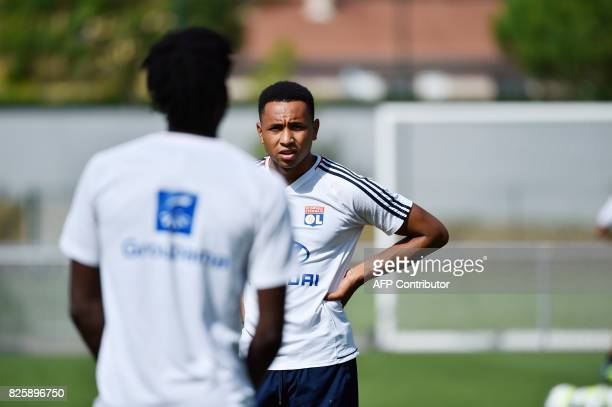 Lyon's Dutch defender Kenny Tete takes part in a training session on August 3 2017 at the Parc Olympique Lyonnais in Lyon eastern France ahead of...