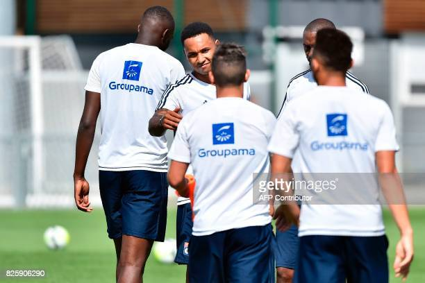 Lyon's Dutch defender Kenny Tete takes part in a training session with his teammates on August 3 2017 at the Parc Olympique Lyonnais in Lyon eastern...