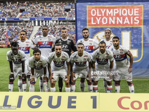 Lyon's Dutch forward Memphis Depay Lyon's Brazilian defender Marcelo Guedes Lyon's FrenchPortuguese goalkeeper Anthony Lopes Lyon's French midfielder...
