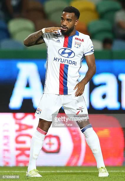 Lyon's forward Alexandre Lacazette celebrates after scoring a goal during the Pre Season Friendly match between Sporting CP and Lyon at Estadio Jose...
