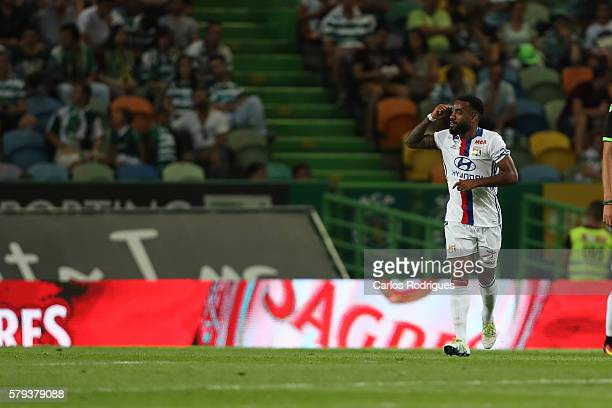 Lyon's forward Alexandre Lacazette celebrates scoring Lyon«s goal during the Friendly match between Sporting CP and Lyon at Estadio Jose Alvalade on...