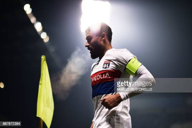 Lyon's forward Nabil Fekir looks on during the UEFA Europa League group E football match Atalanta vs Olympique Lyonnais at the Mapei Stadium in...