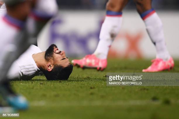 Lyon's forward Nabil Fekir reacts during the UEFA Europa League group E football match Atalanta vs Olympique Lyonnais at the Mapei Stadium in Reggio...
