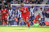 Lyon's French Clement Grenier celebrates after scoring during the French L1 football match Toulouse against Lyon on April 23 2016 at the Municipal...