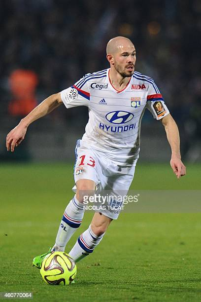 Lyon's French defender Christophe Jallet runs with the ball during the French L1 football match between Girondins de Bordeaux and Lyon on December 21...