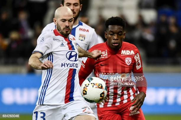 Lyon's French defender Christophe Jallet vies with Nancy's French defender Faitout Maouassa during the French Ligue 1 football match between...