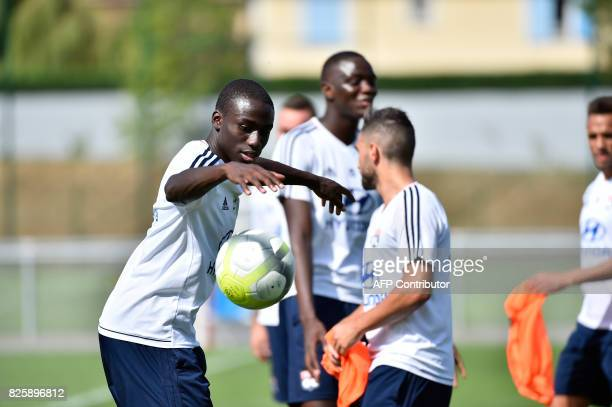 Lyon's French defender Ferland Mendy takes part in a training session on August 3 2017 at the Parc Olympique Lyonnais in Lyon eastern France ahead of...