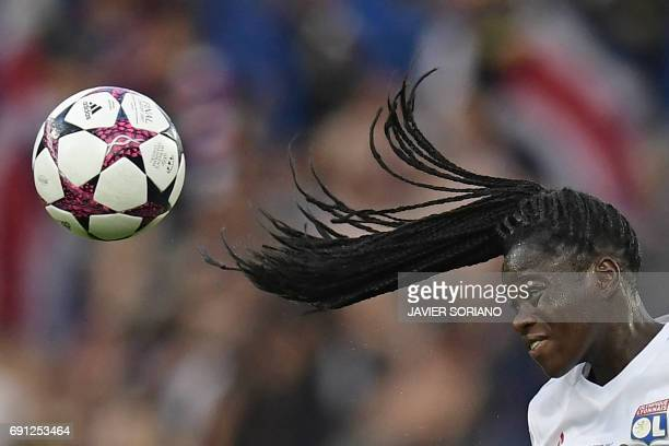 TOPSHOT Lyon's French defender Griedge M'Bock Bathy leaps during the UEFA Women's Champions League final football match between Lyon and Paris...