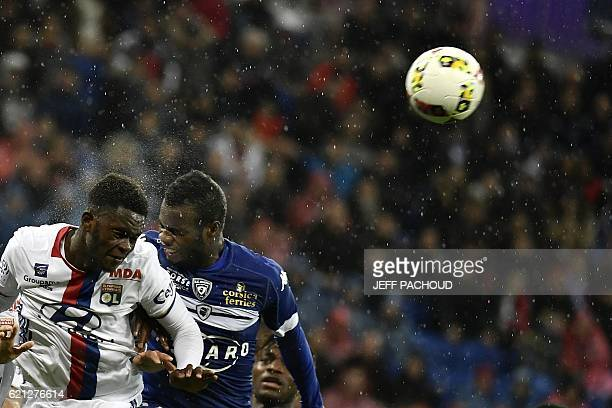Lyon's French defender Jordy Gaspar vies with Bastia's Malian midfielder Lassana Coulibaly during the French L1 football match Olympique Lyonnais vs...