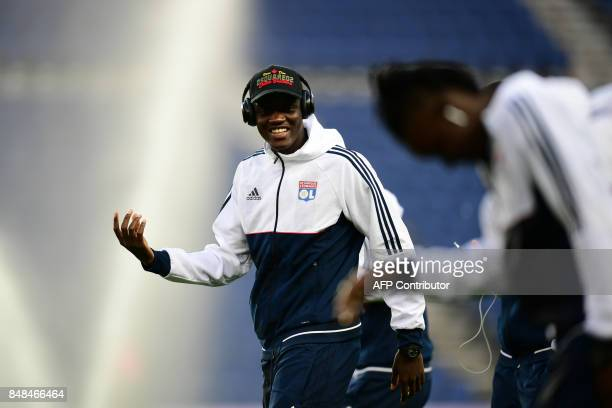 Lyon's French defender Mouctar Diakhaby reacts prior to the French L1 football match between Paris SaintGermain and Olympique Lyonnais at the Parc...