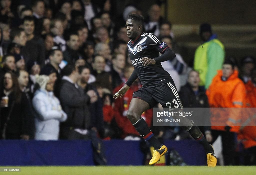 Lyon's French defender Samuel Umtiti celebrates scoring a goal during the Europa League Round of 32 football match between Tottenham Hotspur and Lyon at White Hart Lane in London, England, on February 14, 2013. Tottenham Hotspur won 2-1.