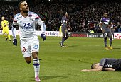 Lyon's French forward Alexandre Lacazette celebrates after scoring a goal during the French L1 football match Lyon vs Toulouse on January 11 2015 at...