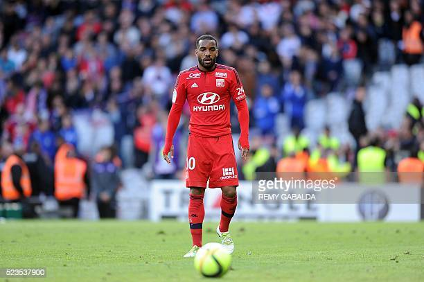 Lyon's French forward Alexandre Lacazette eyes the ball during the French L1 football match Toulouse against Lyon on April 23 2016 at the Municipal...