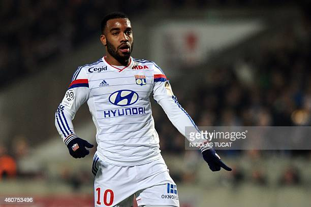 Lyon's French forward Alexandre Lacazette gestures during the French L1 football match between Girondins de Bordeaux and Lyon on December 21 2014 at...