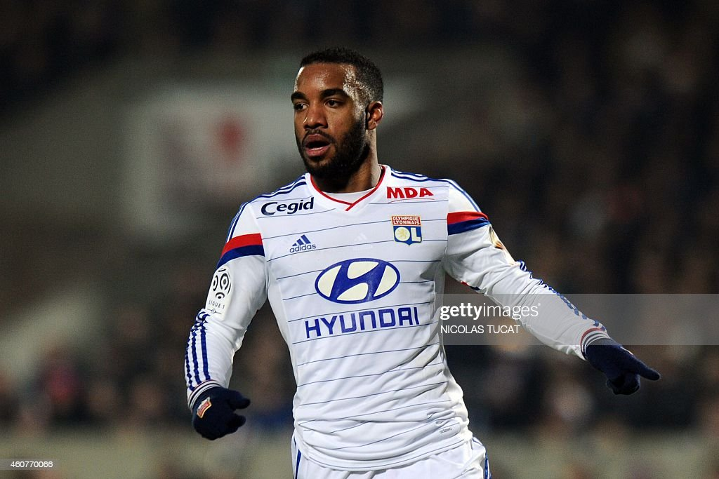 Lyon's French forward <a gi-track='captionPersonalityLinkClicked' href=/galleries/search?phrase=Alexandre+Lacazette&family=editorial&specificpeople=6927653 ng-click='$event.stopPropagation()'>Alexandre Lacazette</a> gestures during the French L1 football match between Girondins de Bordeaux (FCGB) and Lyon (OL) on December 21, 2014 at the Chaban-Delmas stadium in Bordeaux, southwestern France.