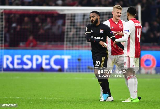 Lyon's French forward Alexandre Lacazette react after the UEFA Europa League semifinal first leg Ajax Amsterdam v Olympique Lyonnais on May 3 2017 in...