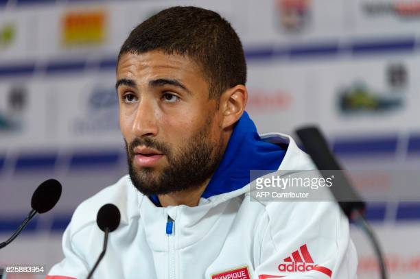Lyon's French forward and new captain Nabil Fekir attends a press conference on August 3 2017 at the Parc Olympique Lyonnais in Lyon eastern France...