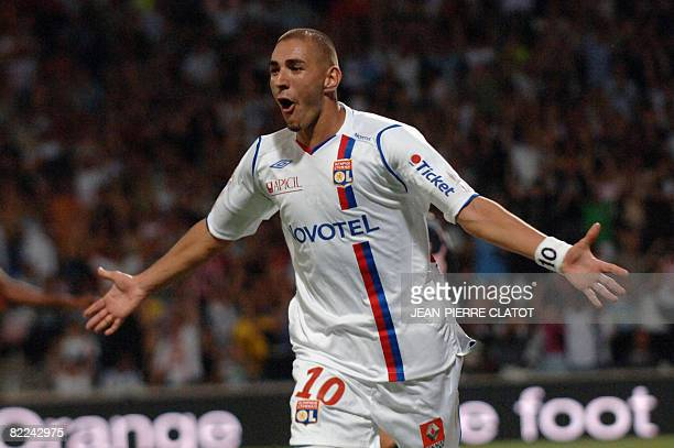Lyon's french forward Karim Benzema celebrates after scoring a goal during the L1 football match Lyon vs Toulouse on August 10 2008 at the Gerland...